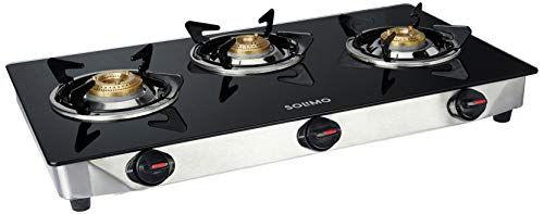 Amazon Brand - Solimo 3 Burner Gas Stove (Glass Top, ISI Certified)