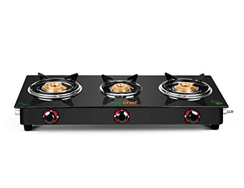 GREENCHEF MS Ebony Manual 3 Burner Glass top Gas Stove ( Black )