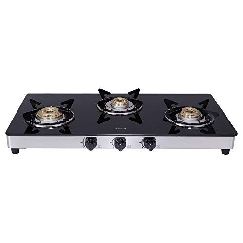 Elica Vetro Glass Top 3 Burner Gas Stove with Double Drip Tray (773 CT DT VETRO)