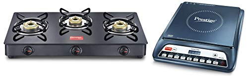 Prestige PIC 20 1200 Watt Induction Cooktop with Push Button (Black) + Prestige IRIS LPG Gas Stove, 3 Burner, Black