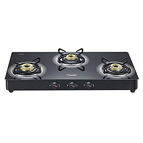 Prestige Royale Plus GT03L 3 Burner Schott Glasstop Gas Stove, Black
