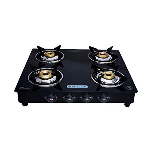 Milton Premium 4 Burner Gas Stove with Black Glass Top, Manual LPG Stove with MS Frame (ISI Certified, Door Step Service)