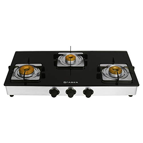 Faber Gas stove 3 Burner Glass Cooktop ( Supreme Plus 3BB) Manual Ignition, Black