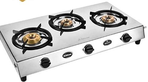 Sunflame Bonus DX Stainless Steel 3 Burner Gas Stove, Manual Ignition, Silver