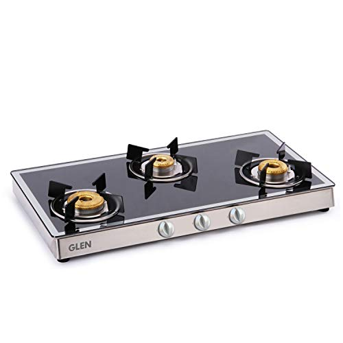 Glen 3 Burner Gas Stove 1038 GT Forged Brass Burners Mirror Finish