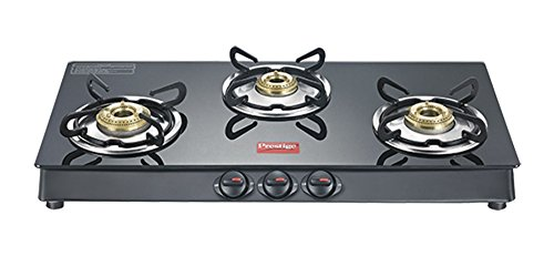 Prestige Marvel Plus Glass Top 3 Burner Gas Stove, Manual Ignition, Black