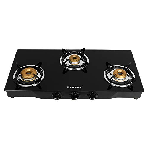 Faber Gas stove 3 Burner Glass Cooktop ( Jumbo 3BB BK) Manual Ignition, Black