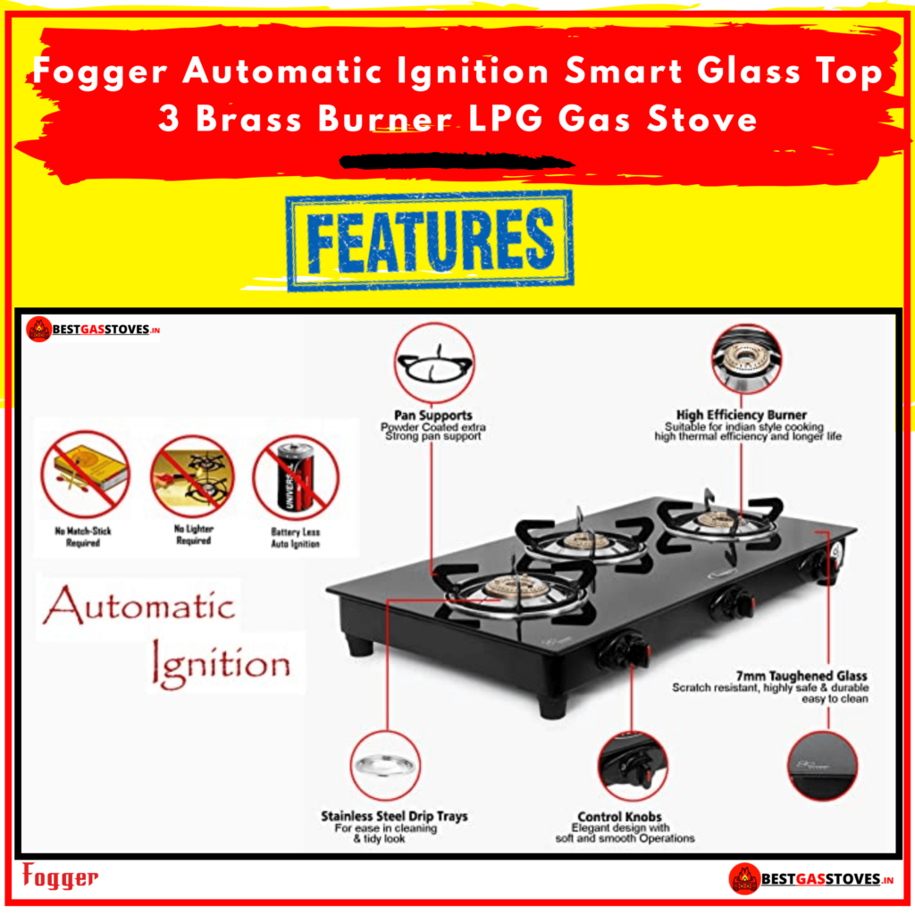 Buy Fogger Automatic Ignition Smart Glass Top 3 Burner Gas stove