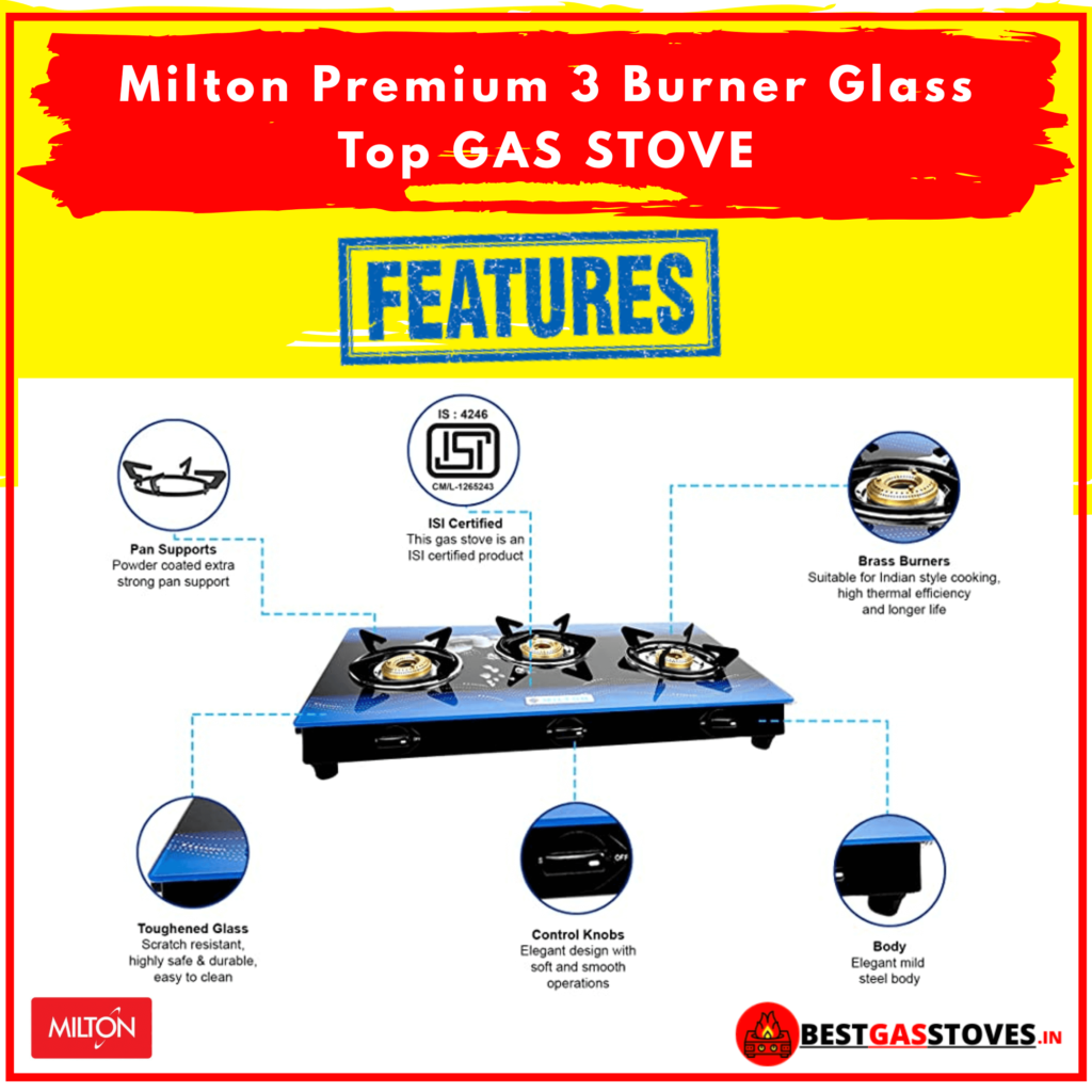 Buy Milton Premium 3 Burner Glass Top