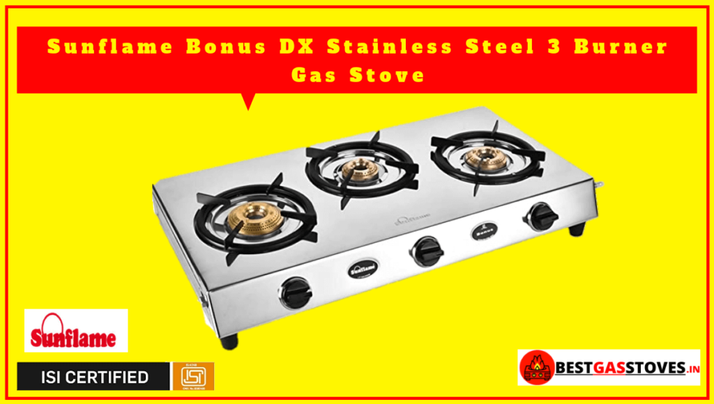 SUNFLAME 3 Burner Stainless Steel Gas Stove