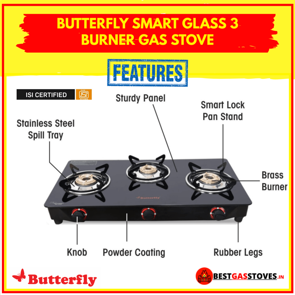 Buy Butterfly Smart Glass 3 Burner Gas Stove