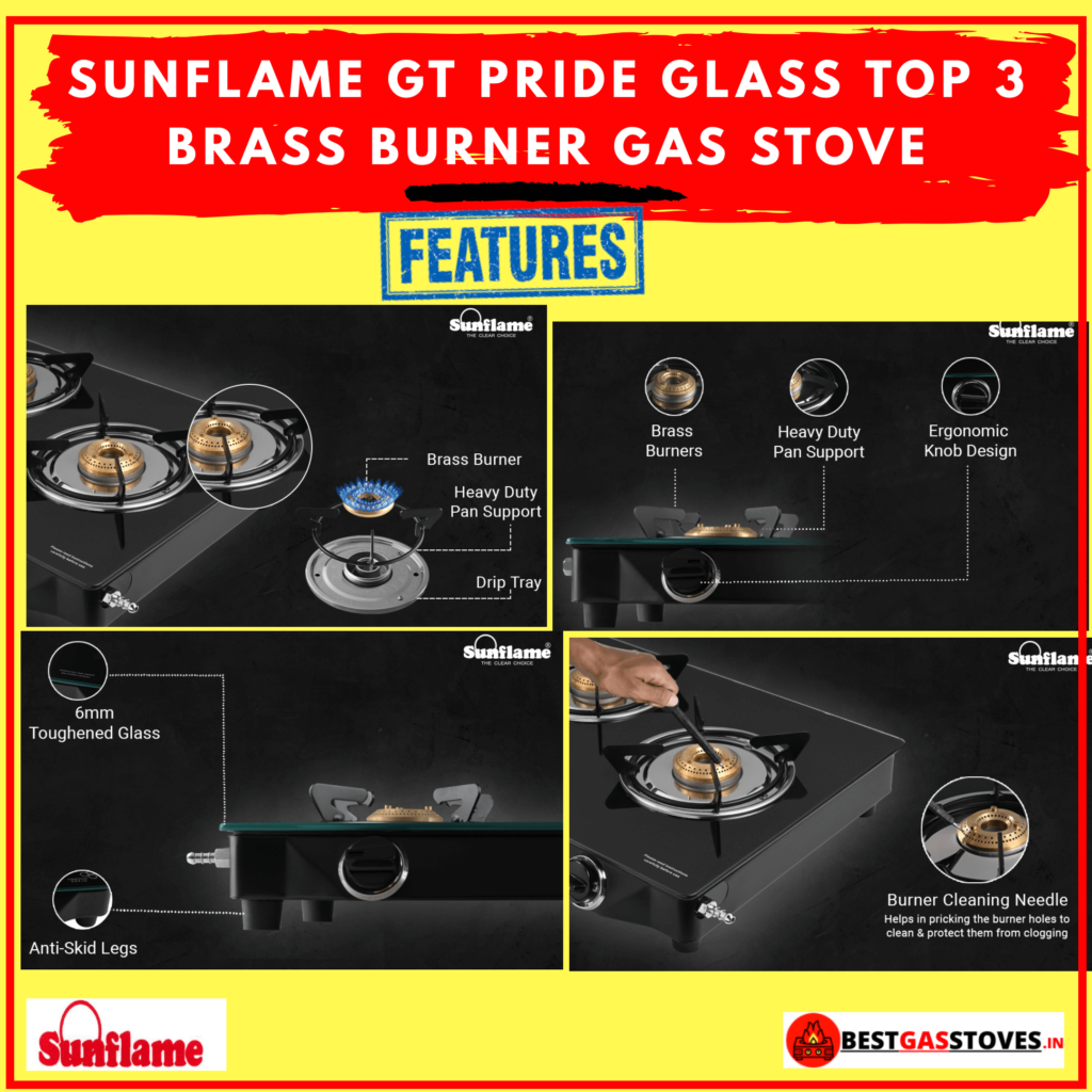 BuySunflame GT Pride Glass Top 3 Brass Burner Gas Stove