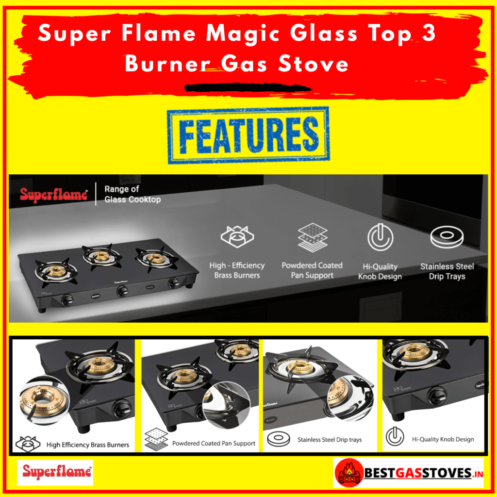 buy Super flame Magic Glass Top 3 Burner Gas stove