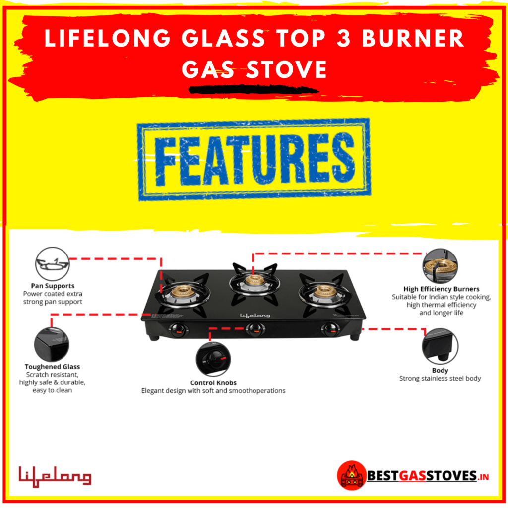 Buy Lifelong Glass Top 3 Burner Gas Stove