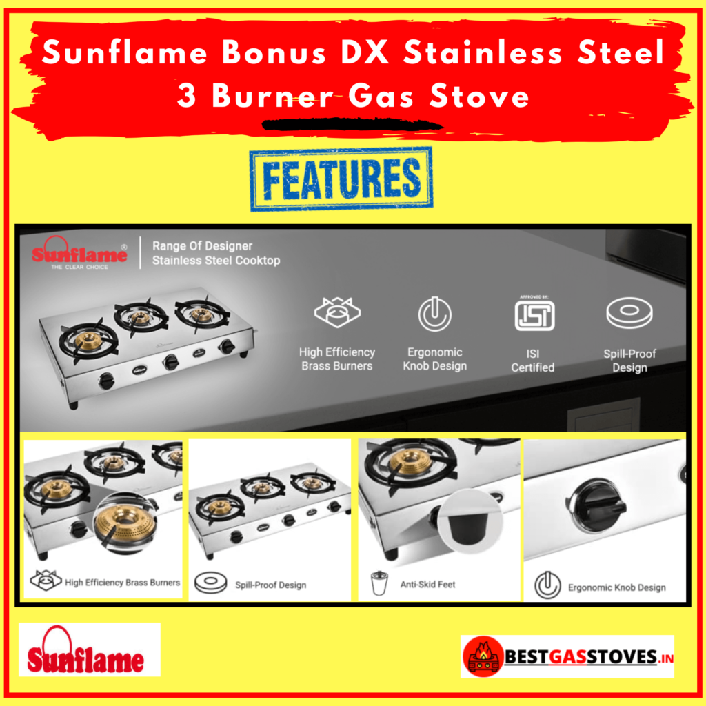 Buy Sunflame Bonus DX Stainless Steel 3 Burner Gas Stove
